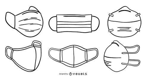 Conjunto de trazos de máscaras faciales
