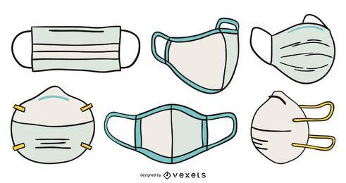 Conjunto de máscaras faciais desenhadas à mão