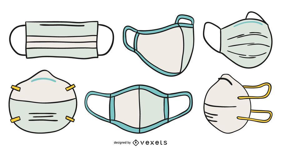 Face masks hand drawn set