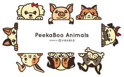 Conjunto de animais peekaboo