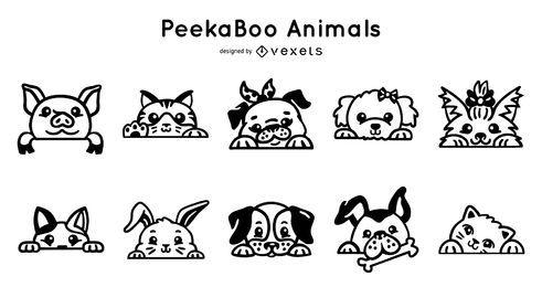 Conjunto de trazos de animales peekaboo
