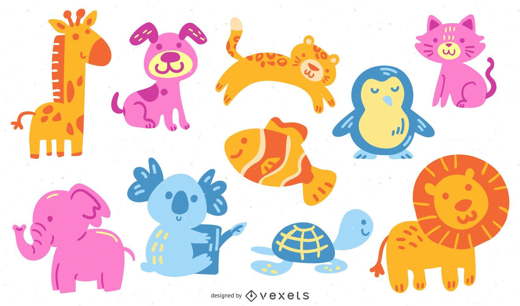 Conjunto de animais fofos e coloridos
