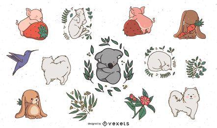 Conjunto bonito de animais com sono