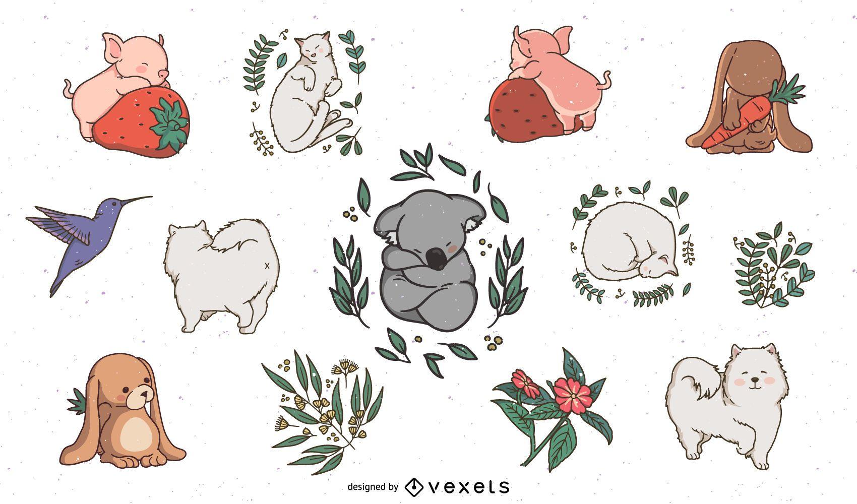 Sleepy animals cute set