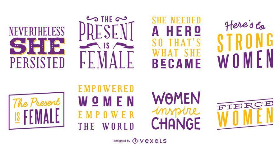Conjunto de letras de mulheres fortes