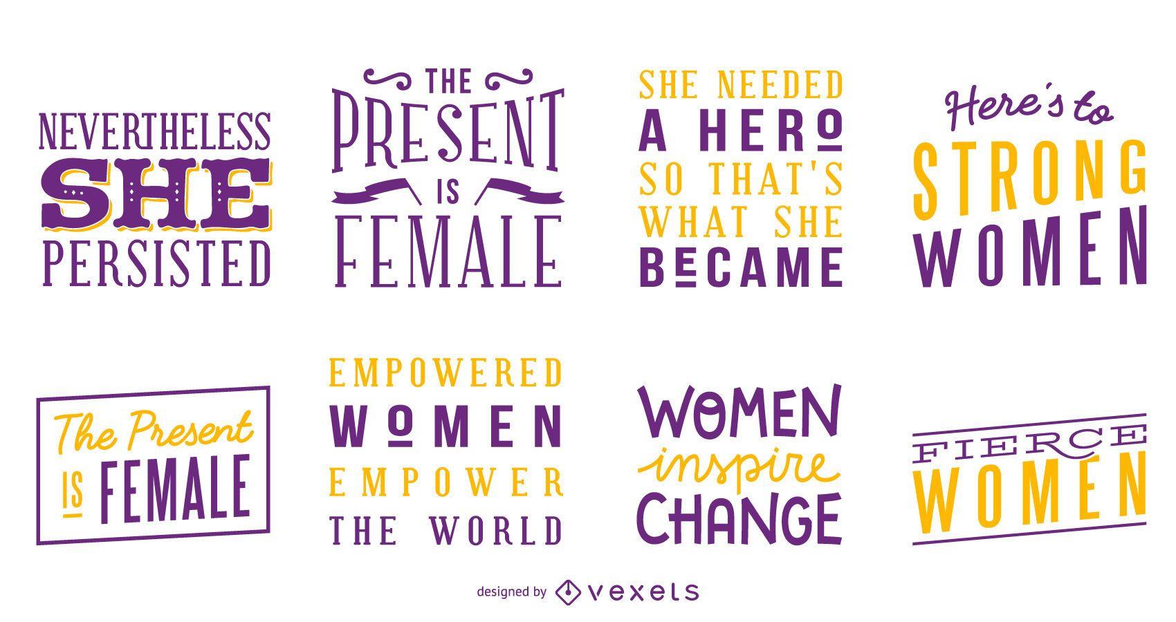 Conjunto de letras de mujeres fuertes