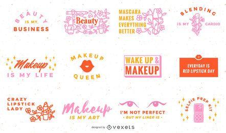 Coleção de inscrições de maquiagem
