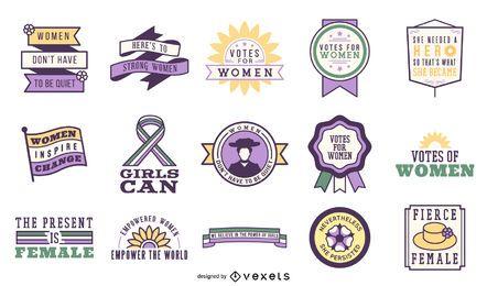 Votos para mulheres distintivo conjunto