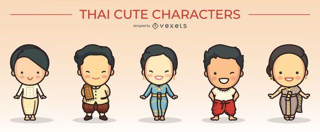 lindo conjunto de caracteres tailandeses