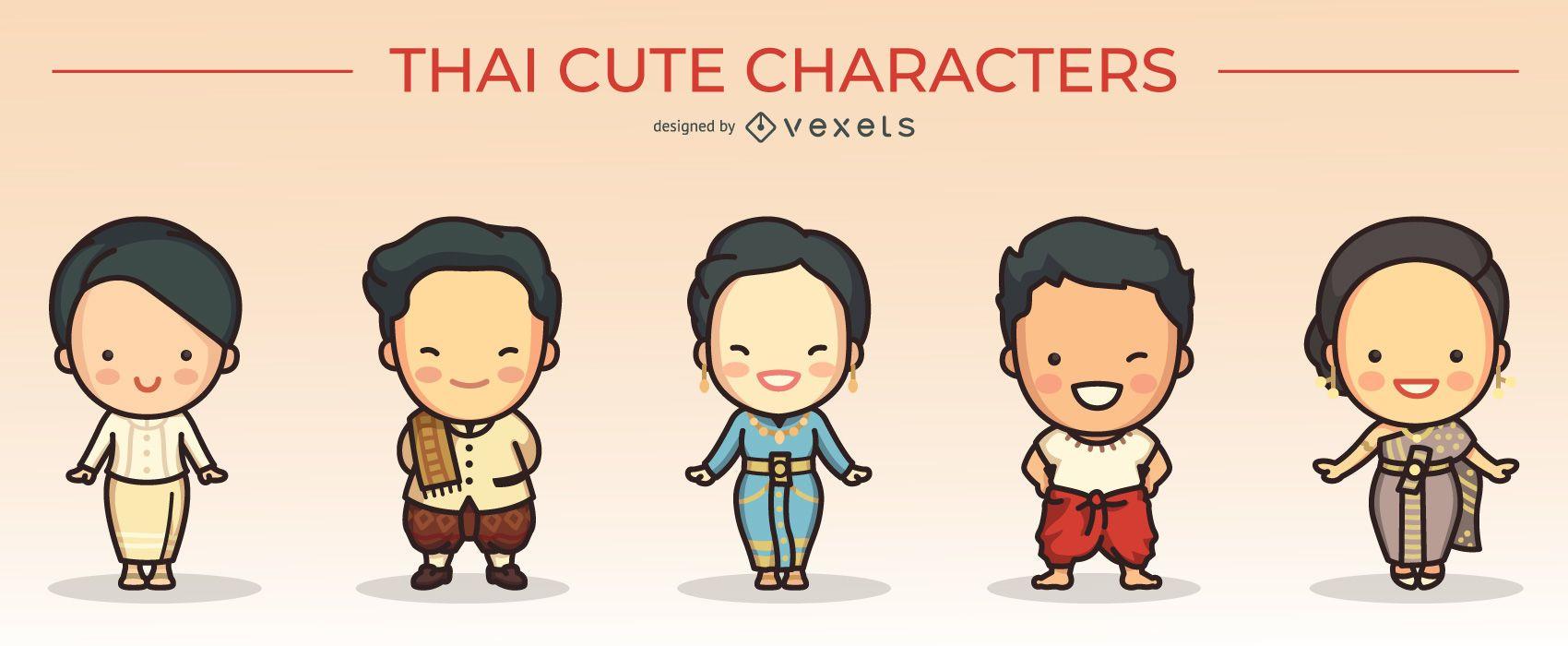 lindo conjunto de personajes tailandeses