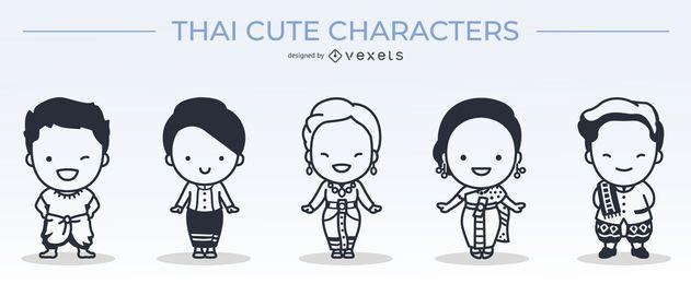 cute thai characters stroke set