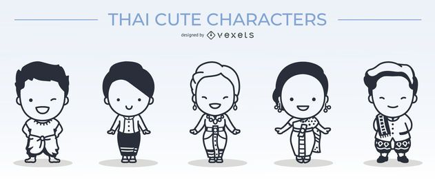 süße thailändische Charaktere Strichset