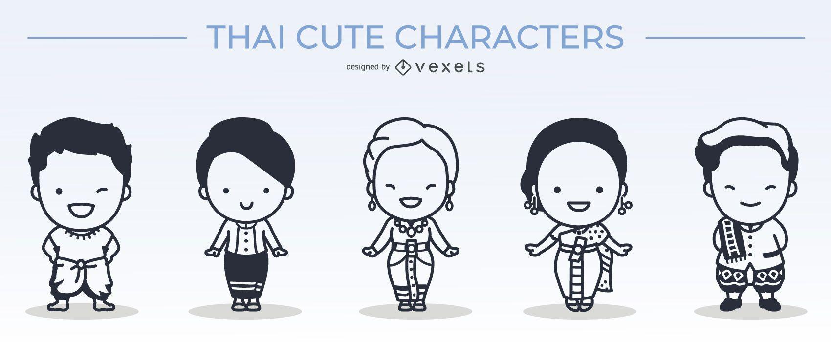 lindo conjunto de trazos de personajes tailandeses