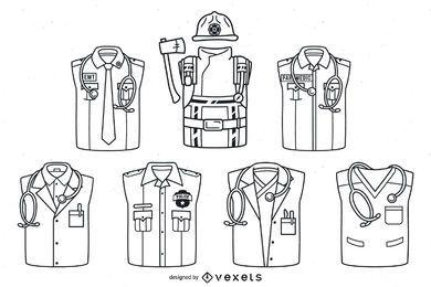 Conjunto de trazos de uniformes de primera respuesta