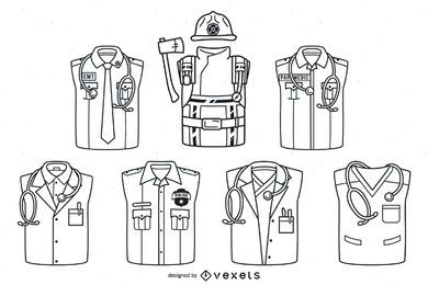 First responder uniforms stroke set