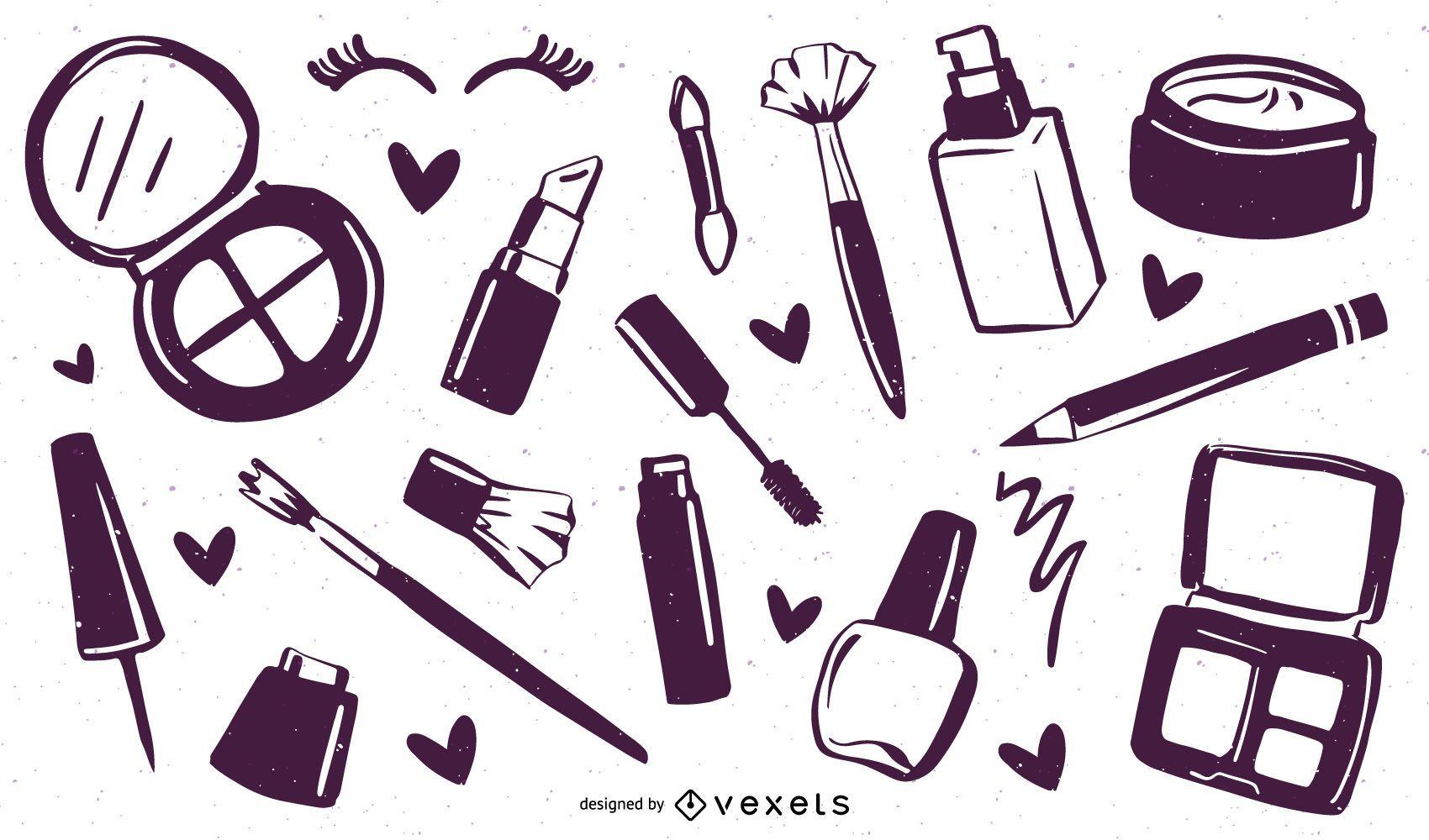 Colección de cosméticos de maquillaje