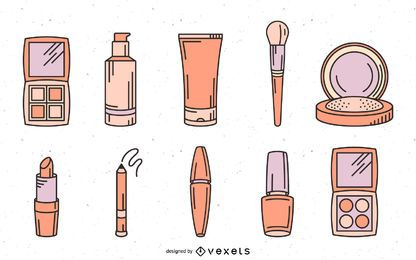Makeup cosmetics hand drawn set