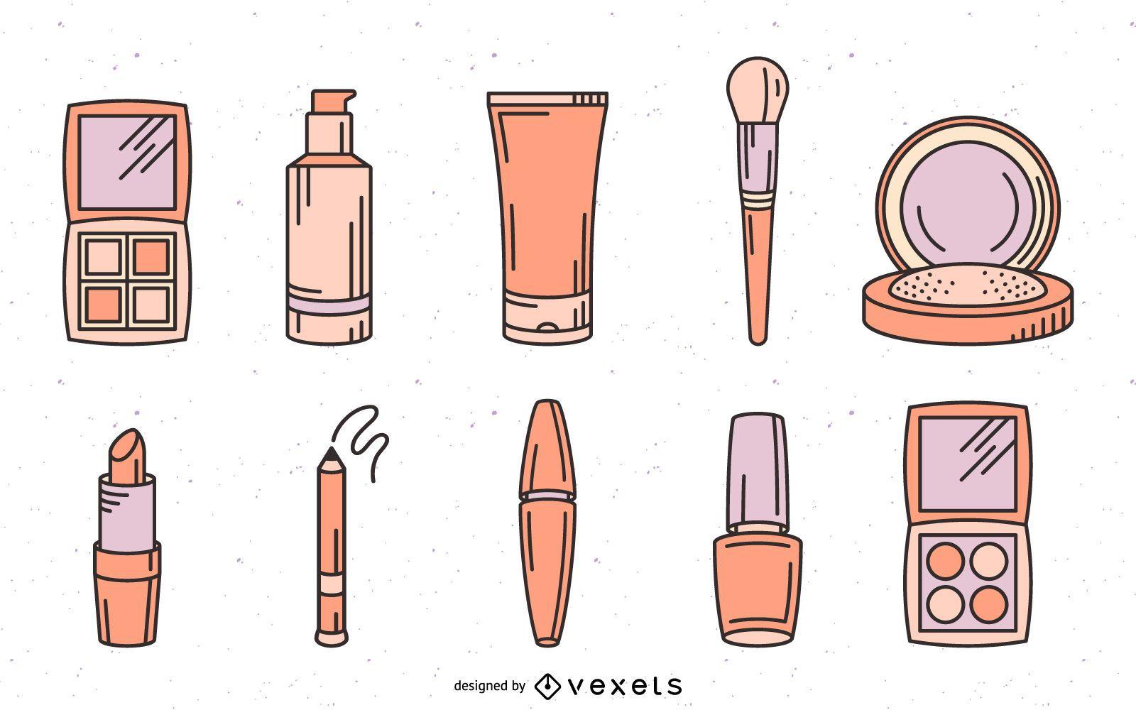 Makeup cosmetics hand drawn set