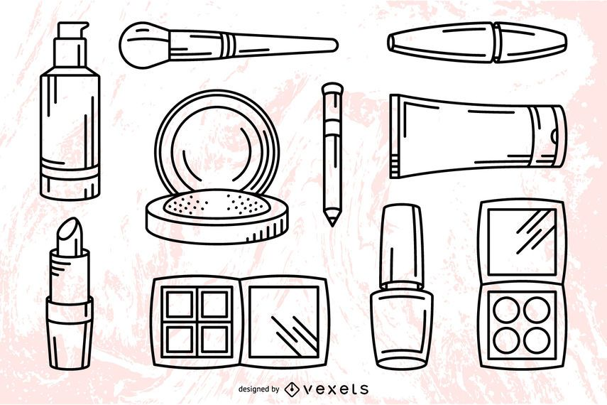 Makeup cosmetics stroke set