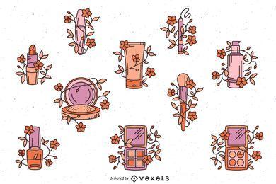 Maquillaje cosmético conjunto floral