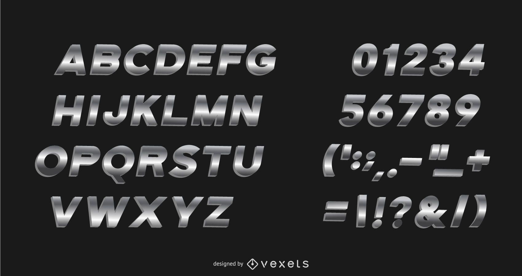 Pacote de alfabeto de gradiente de metal