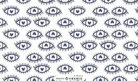 Design de padrões de olhos em coração