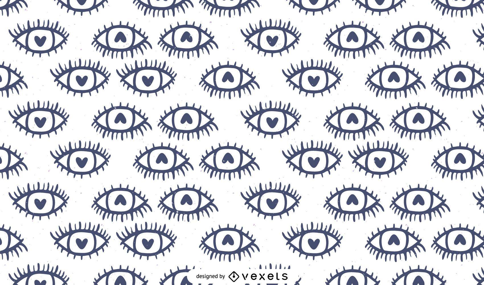 Diseño de patrón de ojos de corazón