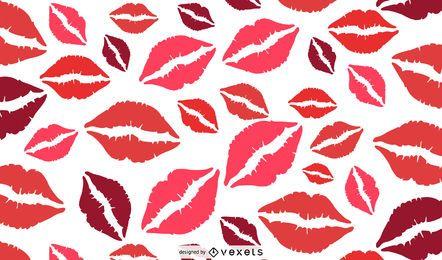 Desenho de padrão de lábios vermelhos
