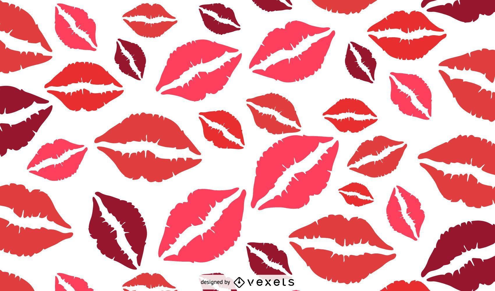 Diseño de patrón de labios rojos