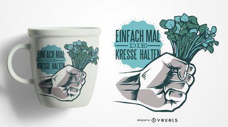 Design alemão da caneca das citações do agrião