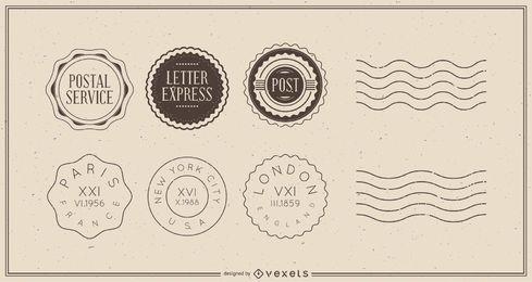 Paquete de insignia de postal de viaje vintage