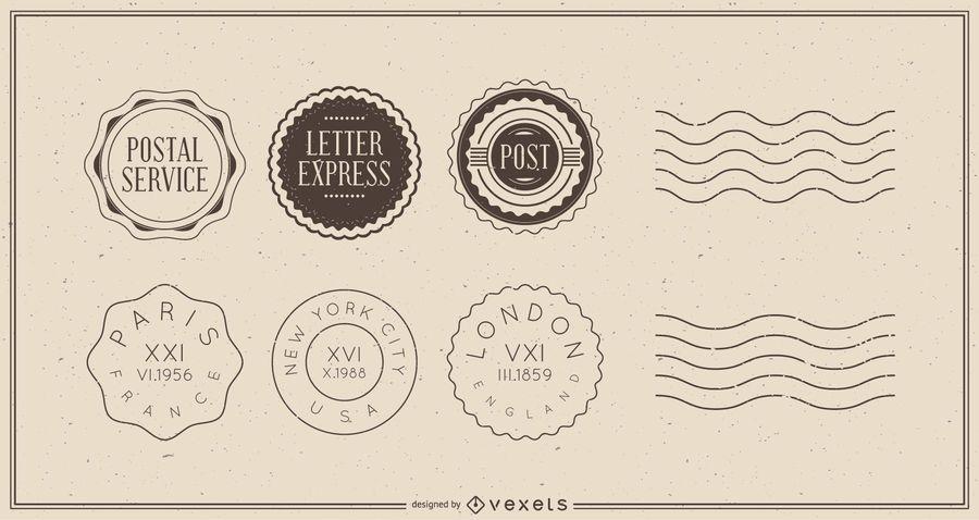 Paquete de insignias de postales de viaje vintage