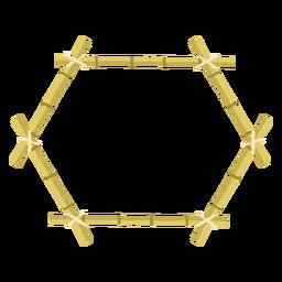 Molduras de bambu desenha ícone hexágono