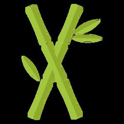 Bambu verde claro dois cruzam ícone