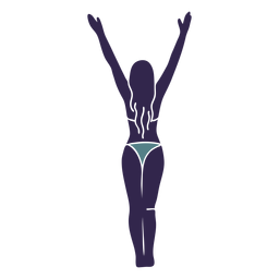 Bikini chica manos levantadas parte trasera