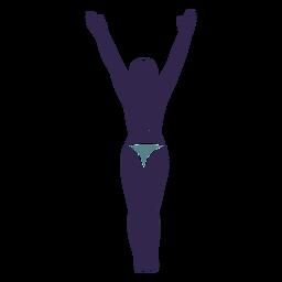 Garota de biquíni mãos levantadas parte traseira