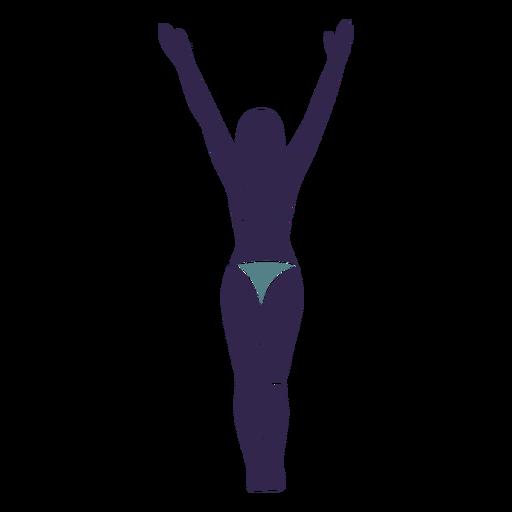 Bikini girl hands raised backside Transparent PNG
