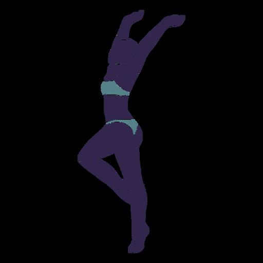 Bikini girl hands raised left facing