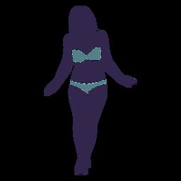 Garota de biquíni caminhando na frente
