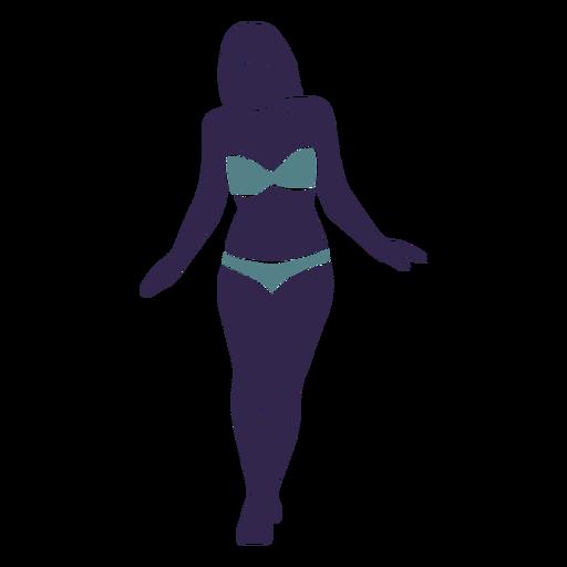 Chica bikini caminando frente