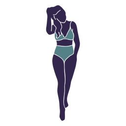 Bikini girl walking front blue