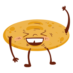 Bread loaf cartoon angry flat