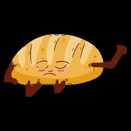 Bread loaf cartoon dazed flat
