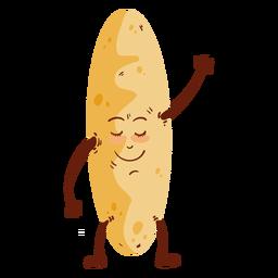 Dibujos animados de pan de pan de pie plano
