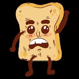 Dibujos animados de rebanada de pan plana