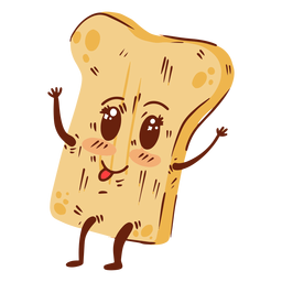 Bread slice cartoon happy flat