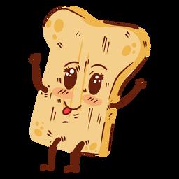 Rebanada de pan dibujos animados feliz plana