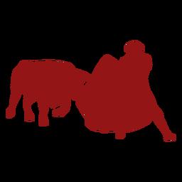 Bullfight charging bull silhouette