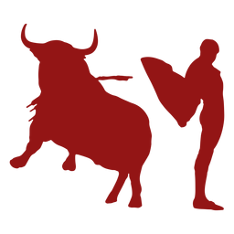 Silueta de toro saltando toro