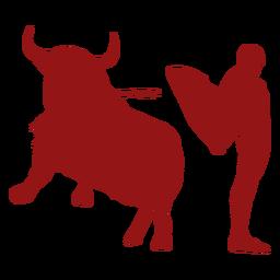 Tourada, saltando, touro, silueta